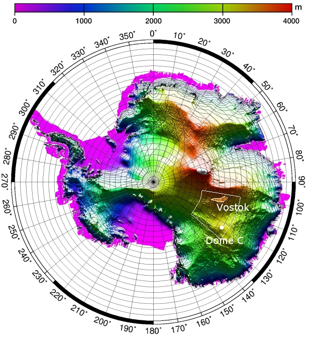 Topographic map around Vostok subglacial lake