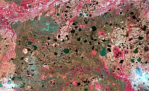 Sentinel-2B optical image of an area near Noviy Urengoy city. This is a typical artic wetland (Credits Sertit/Icube)