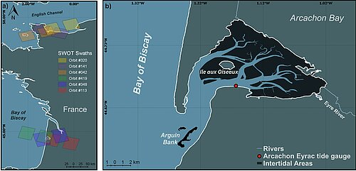 Maps showing the Swot passes over two intertidal areas in France (left) and Arcachon Bay geography (right) (Credit Legos/University of Rouen Normandy)